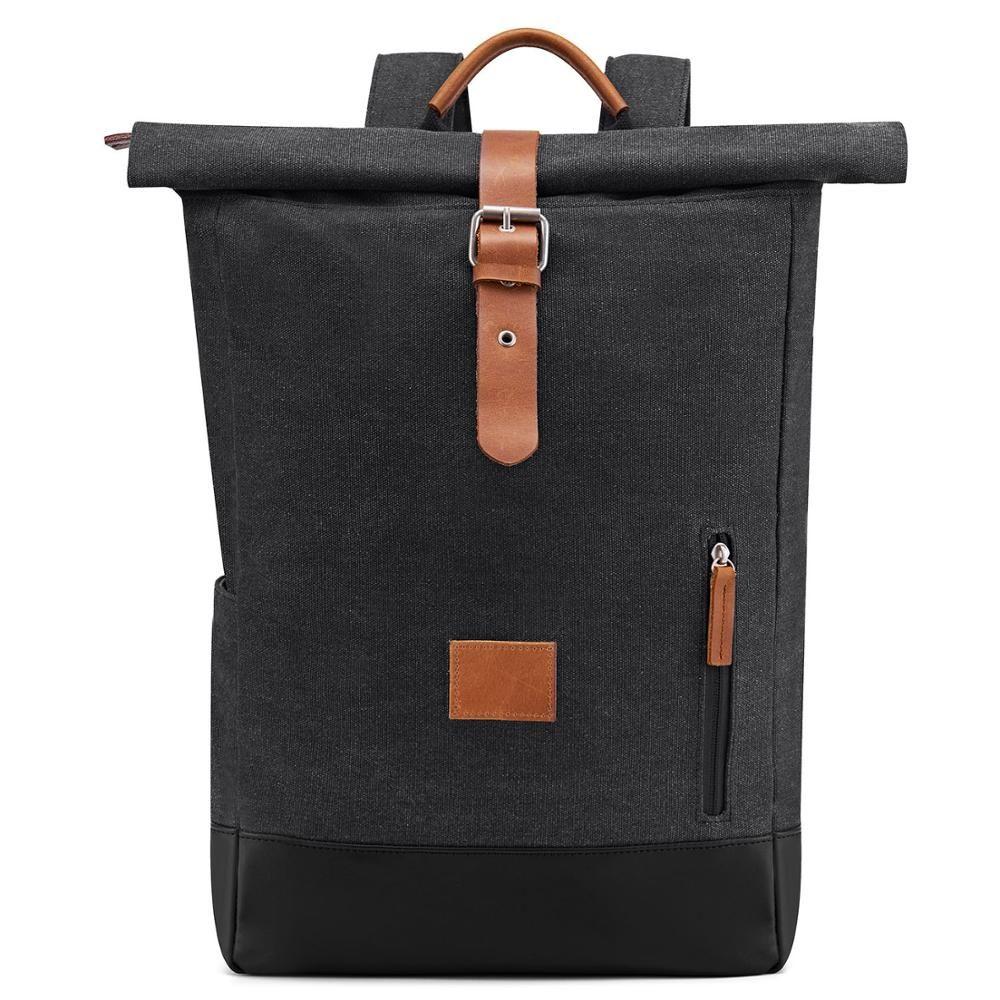 Fabricante personalizado Couro Crazy Horse Canvas Backpack ao ar livre mochila de viagem multi-funcional grande retro capacidade