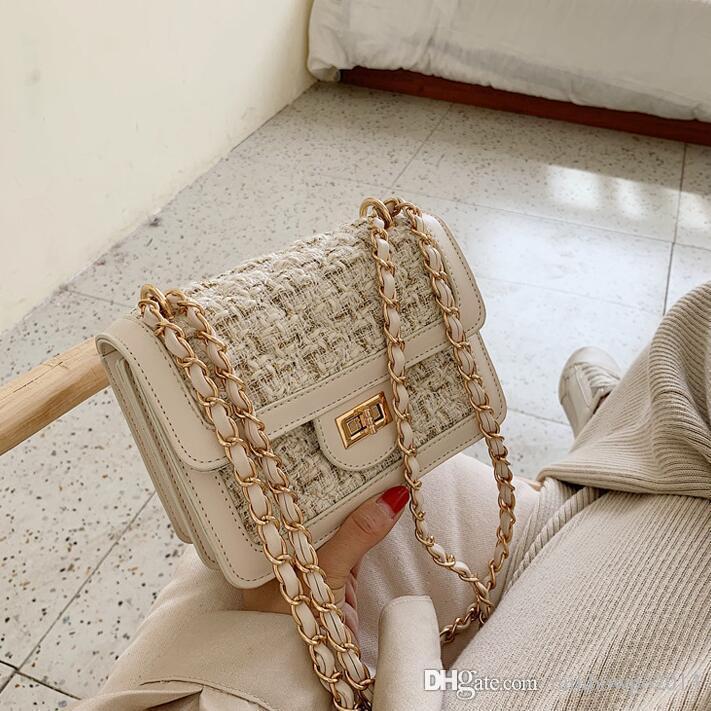 Usine de gros sac à main des femmes hiver nouveau sac de la chaîne de laine à carreaux sac de velours femmes tissé classique contraste de style étranger sac à bandoulière en cuir