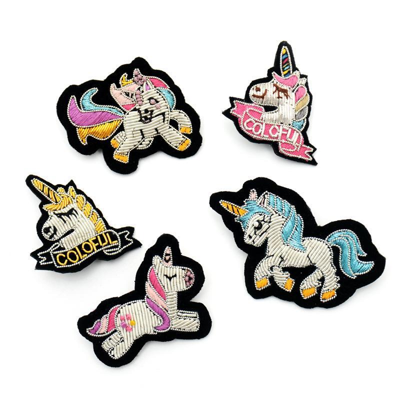 GUGUTREE Indien Seidenstickerei Pferd Patch Tiercartoon Patches Abzeichen Applikation Patches für Kleidung SK-29