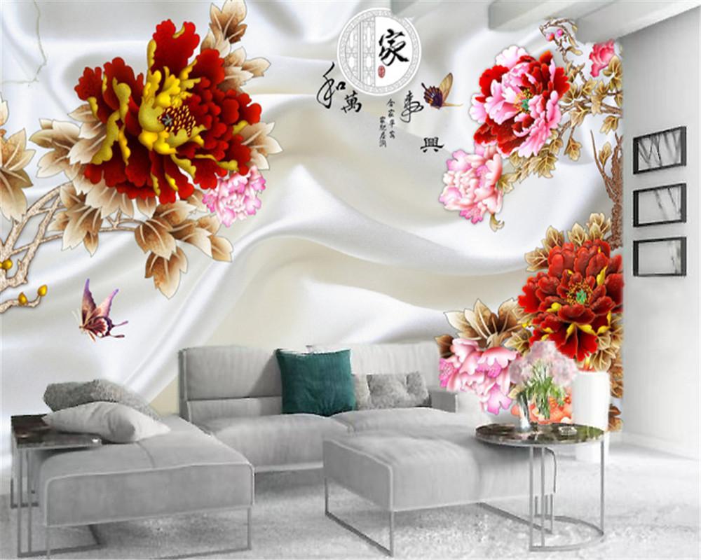 Las paredes del papel pintado 3D elegante y lujoso Peony de encargo de alta calidad Servicio atmosférica decoración interior del papel pintado
