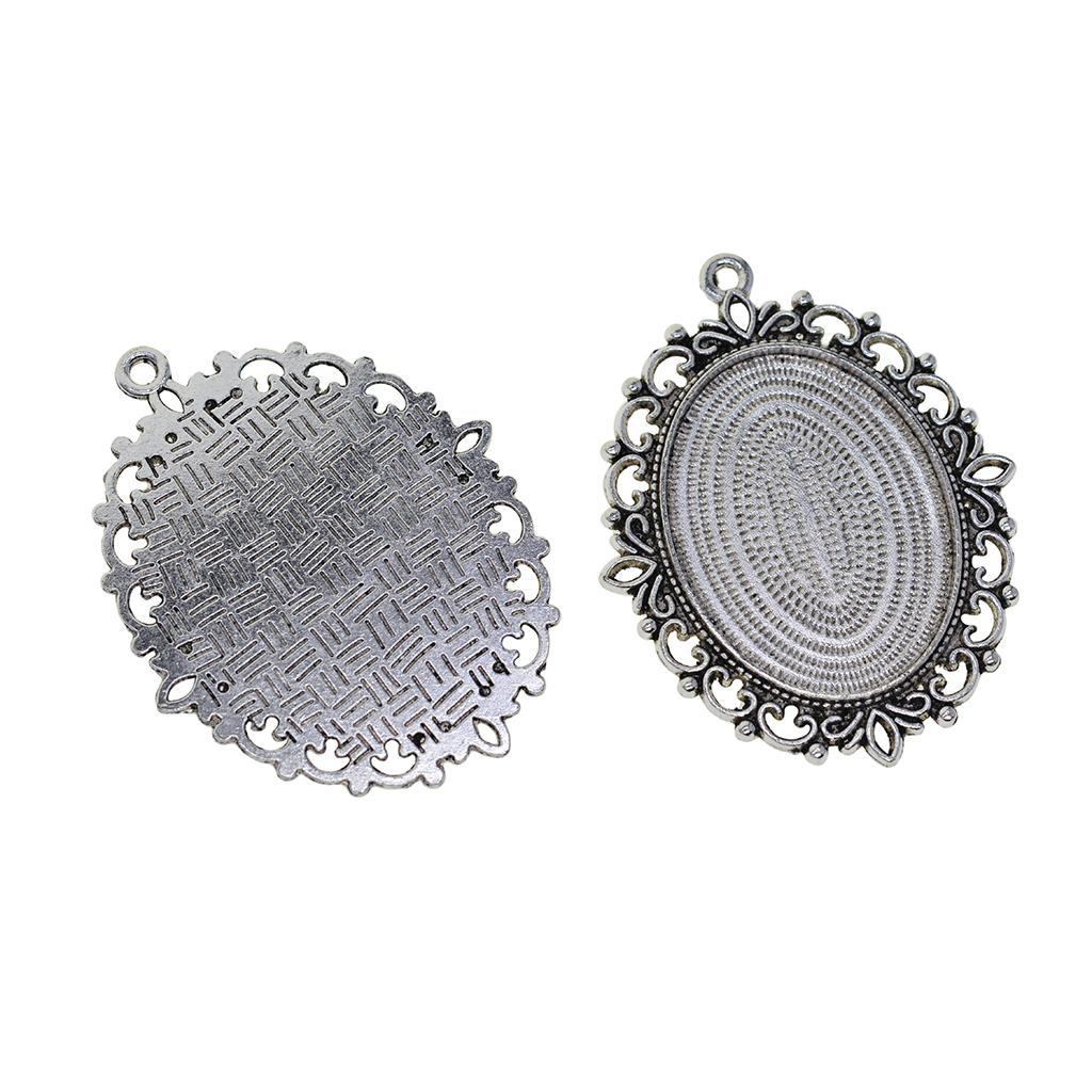 2Pcs Antique Silver Oval Pendant Trays Blanks Bezel Cameo Cabochon Settings Base