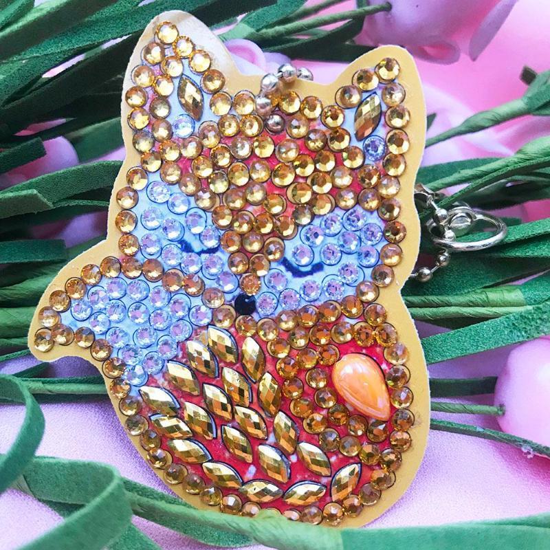 4 pcs DIY Broca Cheia Especial Diamante Pintura Chaveiro Animais Suco Cupcake Pingente Chaveiros Saco Jóias Anel Chave Presentes