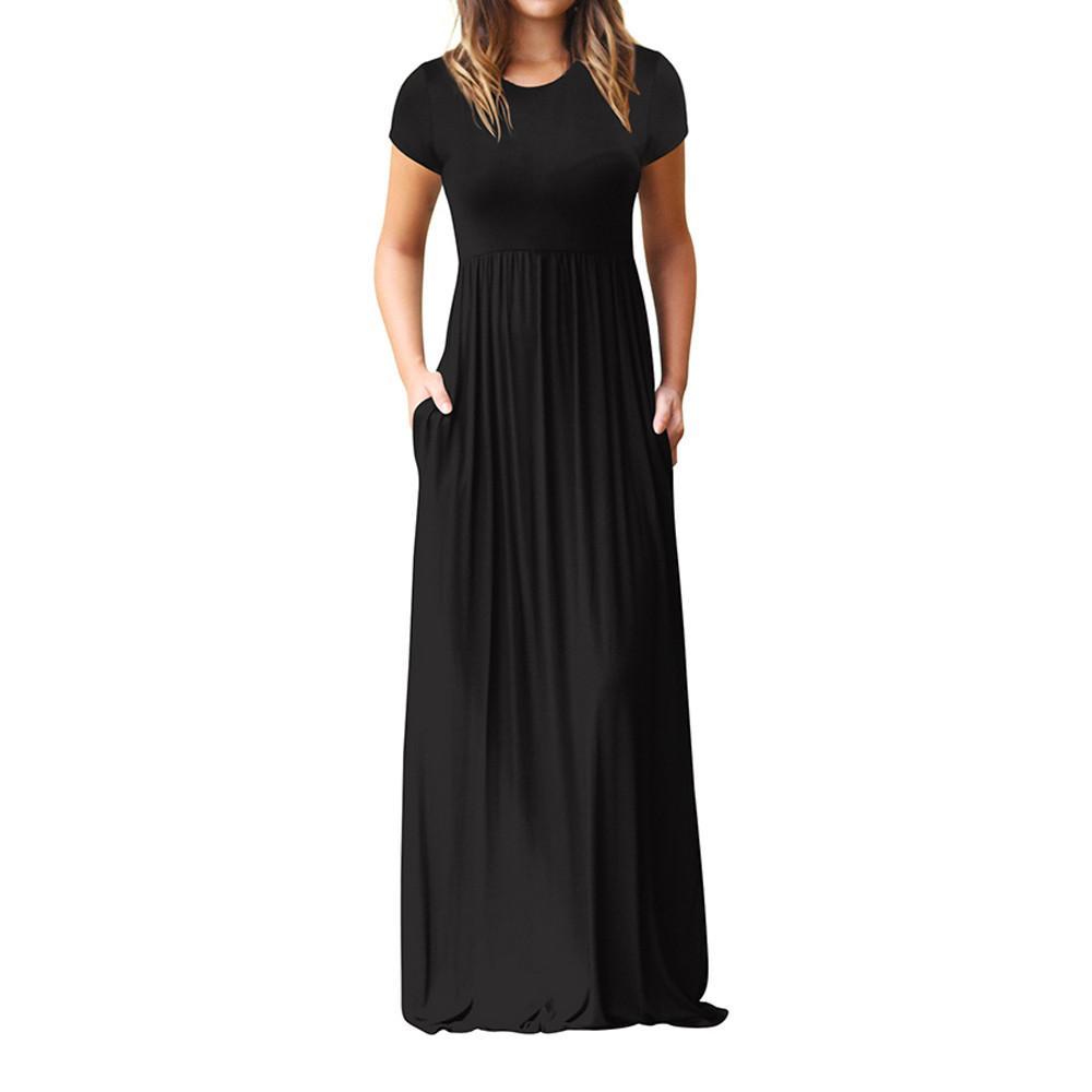 Vestito casual da donna O Collo Tasche casual Manica corta Abito da pavimento Vestito aderente da maxi abito Vestitino pull vestidos Sukienka #YL