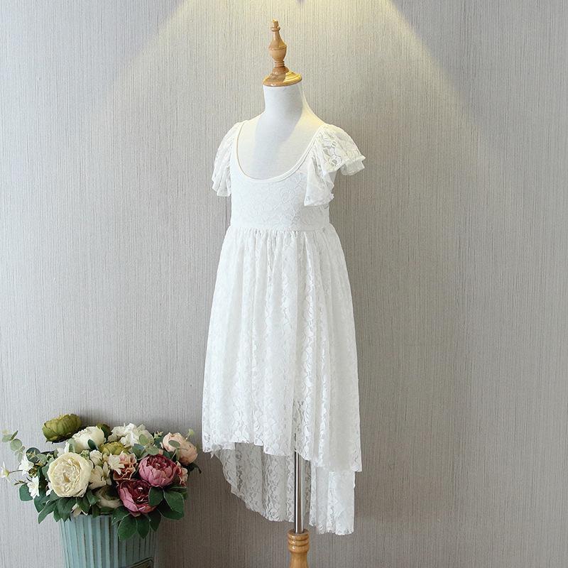 Weiß Backless Spitze-Baby-Kleid-Kind-Mädchen Rüschen Hülsen-Kleider 2020 Infant Prinzessin Nette Partei-Kleid Kinder Kleidung Großhandel S734