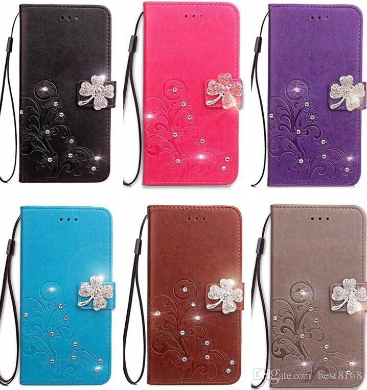 Bling Diamond Case For Iphone 11 Pro XS MAX XR X 8 7 6 Galaxy S10 Note 10 9 S9 Lucky Clover Flower Leather Wallet Flip Cover Luxury Pouch