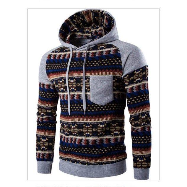 Abbigliamento uomini di modo del maglione di inverno Uomo Maniche raglan Etnica Corrispondenza Stile incappucciato maglione cappotto casuale a maniche lunghe
