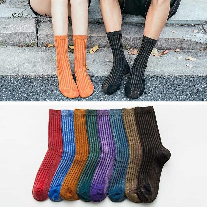 Yeni Moda Çiftler Erkekler ve Kadınlar Çorap Pamuk Renk Kürklü Çizgili Floresan Harajuku Japon Komik Mutlu Retro Tüp Çorap