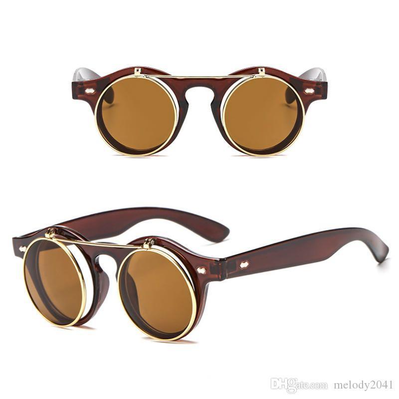 4 색 클래식 플립 선글라스 펑크 빈티지 라운드 태양 안경 더블 렌즈 커버 아이 워스 유니섹스 디자인 도매 멜로디 2041