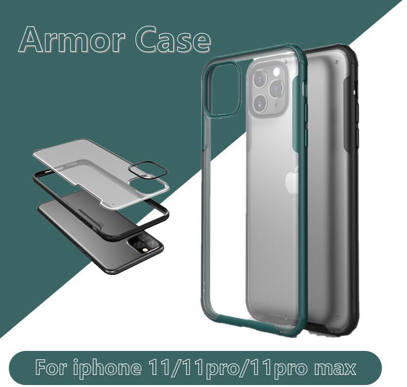 Para iPhone SE 2020 11 Pro Max XS XR X 8 7 Plus Ultra delgada armadura híbrida cobertura completa a prueba de golpes mate PC cubierta TPU parachoques caso