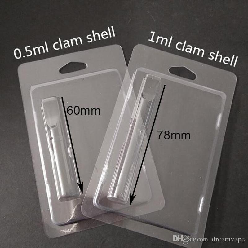 Einzelhandel Verpackung Plastik Clamshell Clam-Shell-Blister-Verpackung für 1,0 ml Vape Öl Cartridges 92a3 G2 th205 Vapor Verpackung 510 Wagen Verpackung