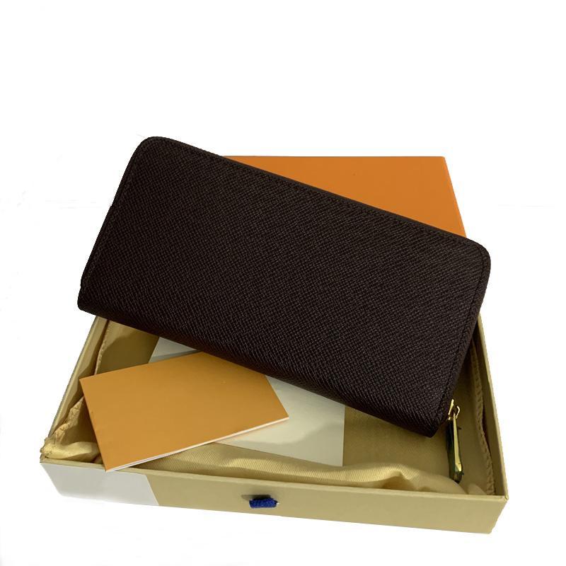 패션 여성 고품질 정품 가죽 지갑 클러치 지갑 클래식 단일 지퍼 지갑 오렌지 상자 먼지 가방 긴 지갑
