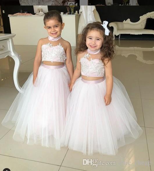 2018 Dentelle Deux Pièces Robes De Fille De Fleur Pas Cher Tulle Petite Fille Robes De Mariée Pageant Vintage Robes Robes F054