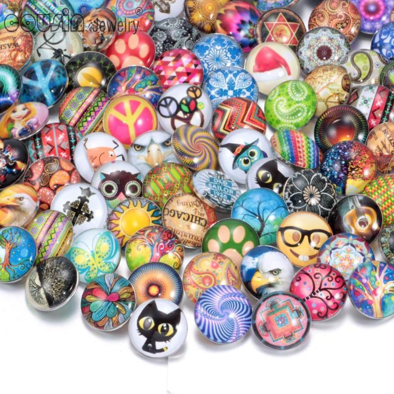 100pcs / lot de vidrio de 18 mm Mixta broche de botón de cristal del botón de la joyería encaje de forma joyería brazalete de presión