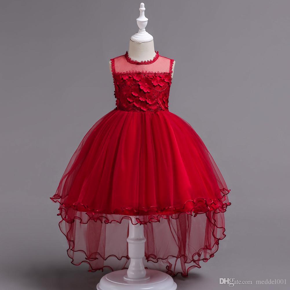 Princesse De La Mode Petite Mariée Longue Robe De Reconstitution Pour Filles Glitz Puffy Tulle Robe De Bal Enfants Robe De Graduation Robe