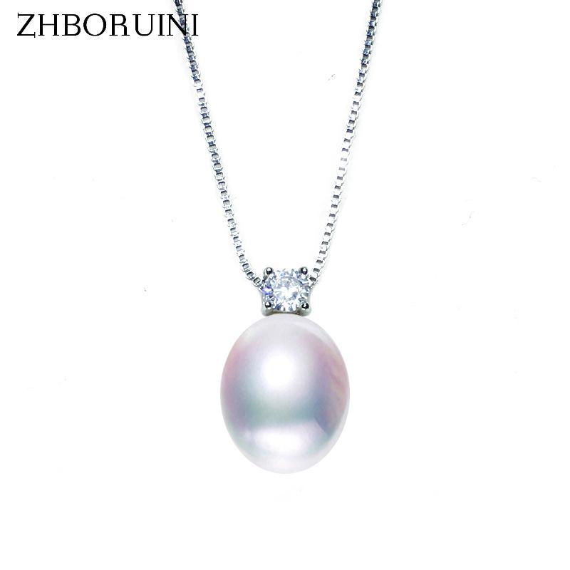 ZHBORUINI 2019 dei monili della perla nuova collana d'acqua dolce naturale delle perle zircone monili dei pendenti 925 d'argento per le donne regalo