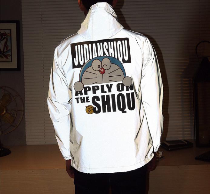 2020-Jacke für Männer Reflective Winderbreaker Jacke mit Kapuze Frauen-Polyester-Faser Langarm-T-Shirt Größe S-XXL