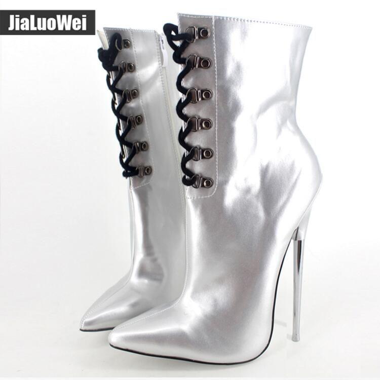 """7 """"익스트림 하이힐 패션 발목 부츠 금속 얇은 뒤꿈치 레이스 업 남여 페티쉬 섹시한 발가락 여성 마틴 부츠 드래그 여왕 신발"""