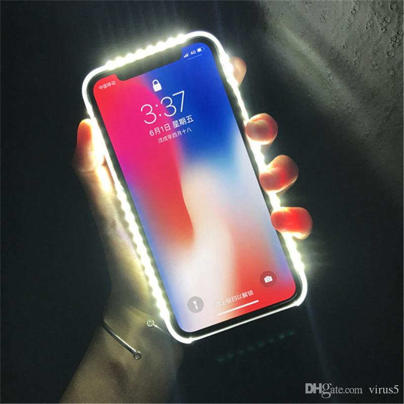For iPhone Light Up Selfie Flash Phone Case Photo Fill Light Artifact For iPhone 7 plus X 6S 5S Plus 8 Cover Cases