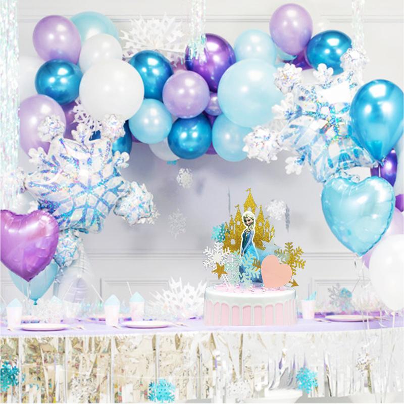 85pcs Ice Princess Snowflake Foil Balloons Garland Birthday Party Decoration Kids Girl Ice Snow Princess Birthday Party Supplies T200624