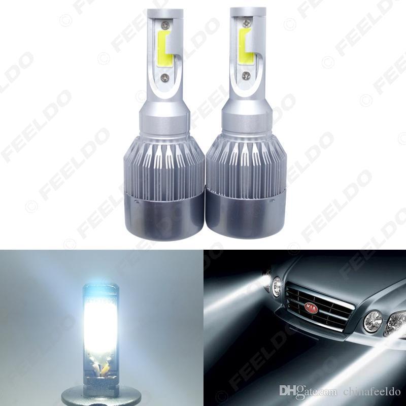 In allen One-Auto-LED-Scheinwerfer 2-COB 6500K 72W 7600LM H4 Hallo-Lo Beam-LED-Lampe Foglight Scheinwerfer # 2886