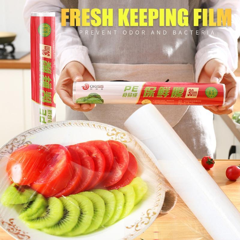 Frutas descartáveis Legumes plástico Saran Wrap frescos de manutenção de cobertura de armazenamento Clings Film Cozinha Helpers estiramento # 3