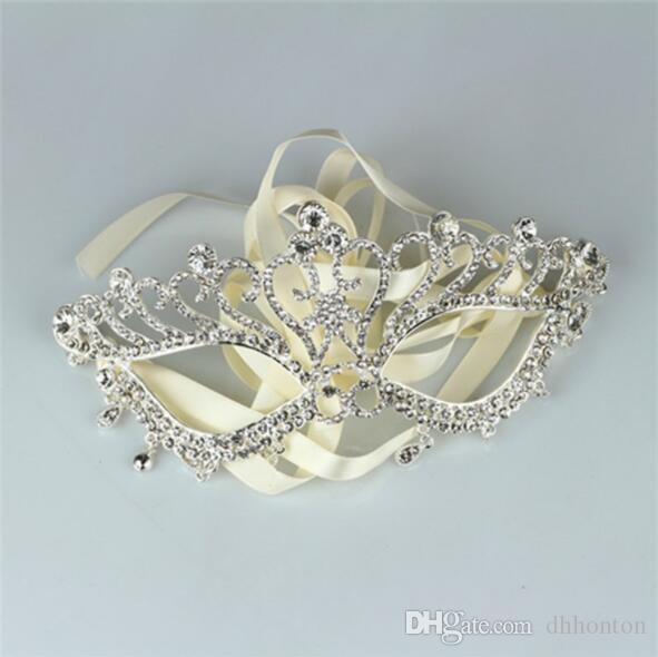 Princess mask for halloween Women Lady Bridal Masquerade Rhinestone lace-up Crystal Eye Mask adjustable Party Mask Easter masks