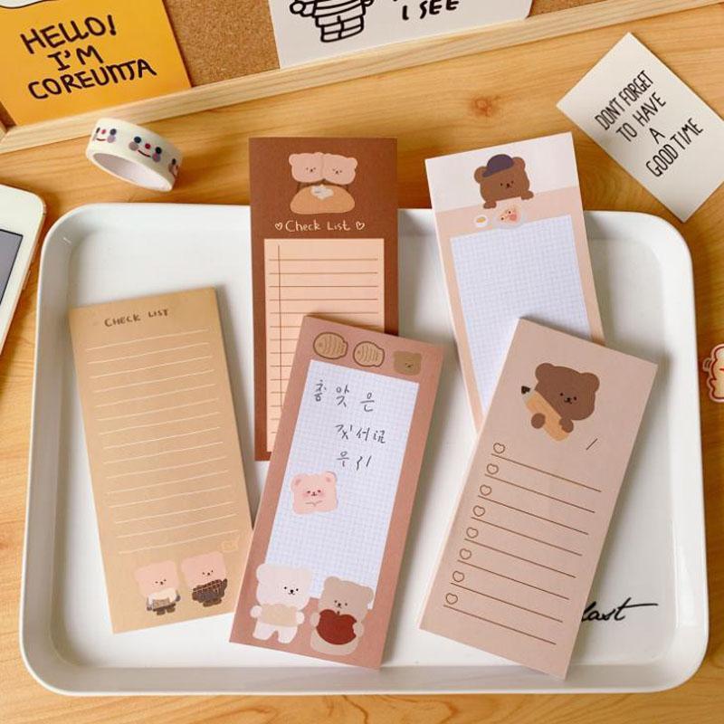 Cartoon Bear Cake Sticky Notes Paper Memo Pads Check To Do List Student Korean Stationery Sticker Album Diary Notepads