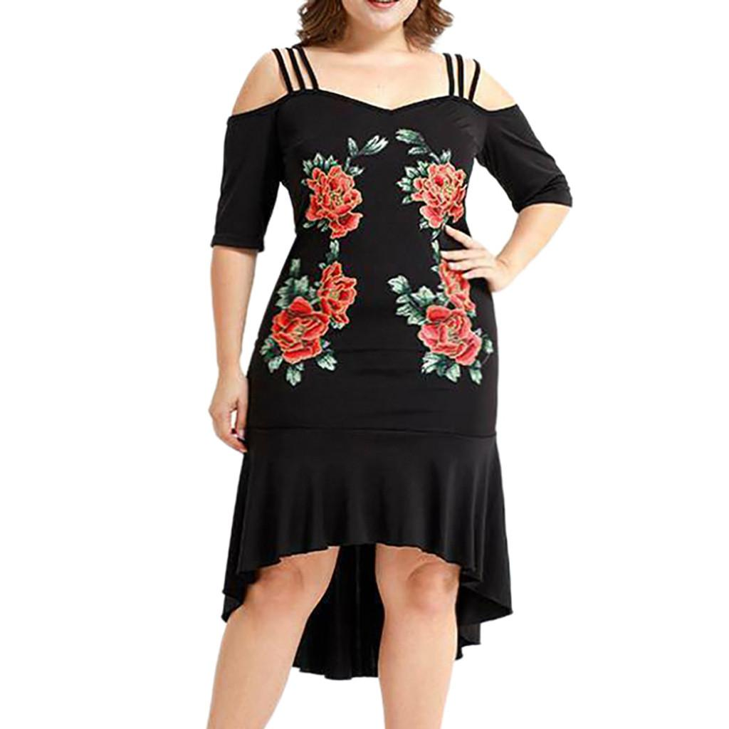 Плюс Размер Summer Party Dress 2019 Женщины Элегантные Аппликации Платья Миди с Холодным Плечом Женщина Черное Готическое Платье Женские Платья