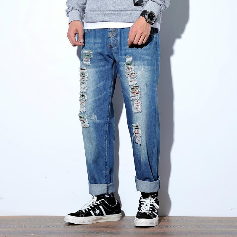 Streetwear suelto Homme Jeans Agujero de moda vintage Blue Hop Pantalones rasgados Hombres de moda rotos Hombres Punk Jeans destruido XJXBB