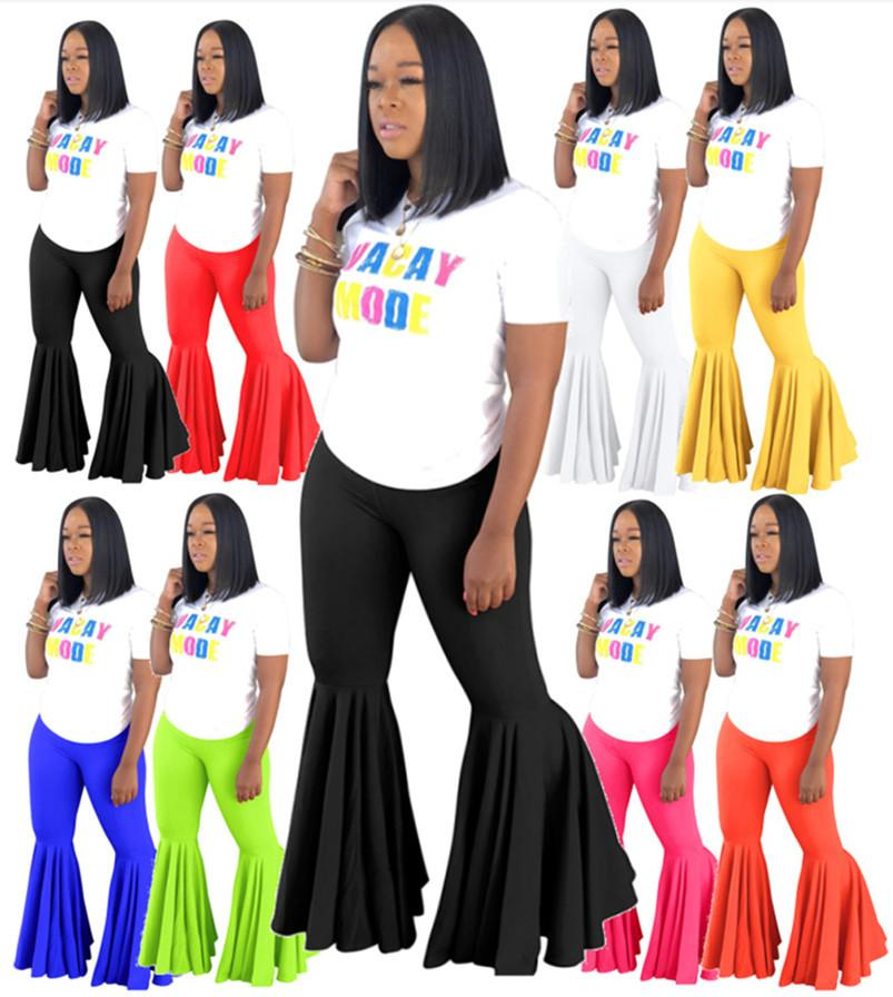Women Designer Bootcut Pants Sexy Jumpsuits Rompers Plus Size Ruffles Leggings Candy Color Fall Clothing Night Club Bell Bottoms Pants 1046