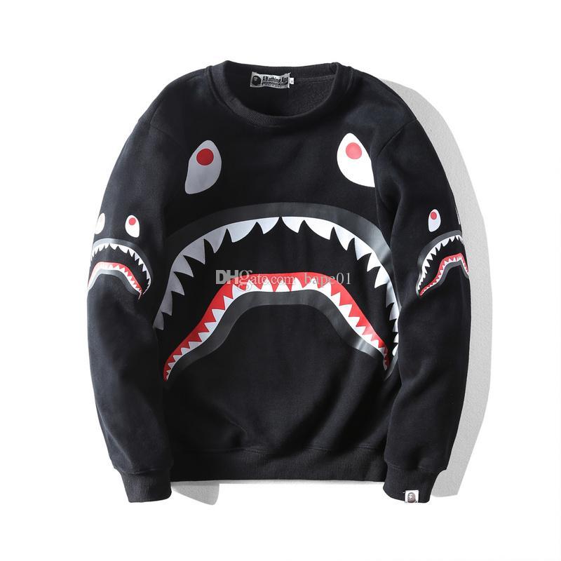 BAPE nueva llegada del Mens Hoodies de la manera estilista de dibujos animados Shark impresión sudaderas con capucha de la chaqueta mujeres de los hombres de alta calidad Casual Sudaderas Negro