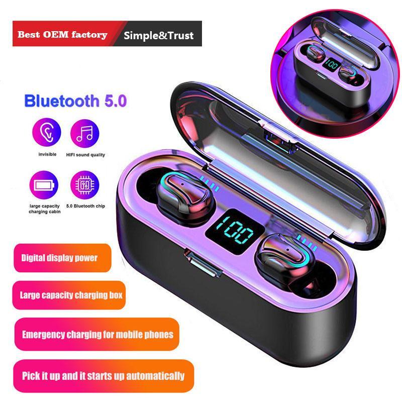 MIC S9 S10 telefonlar için Davası Şarj ile Q32-1 Kablosuz TWS Bluetooth 5.0 Kulaklık Eller serbest HD Stereo Kulaklık HIFI su geçirmez kulaklık