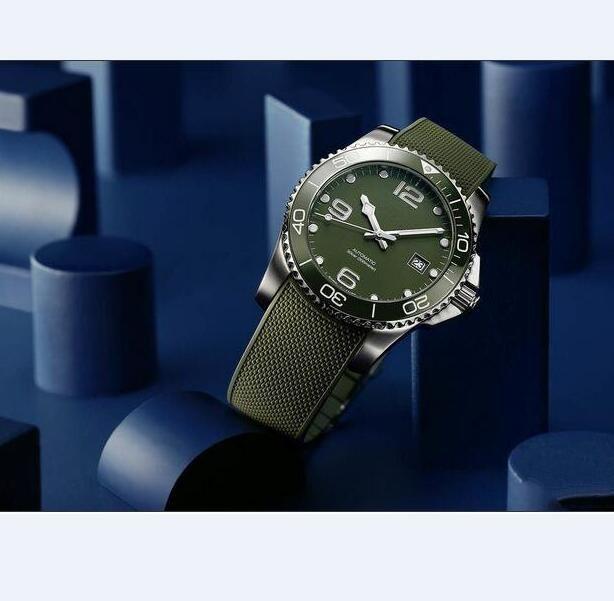 핫 판매 럭셔리 남성 스테인레스 스틸 고무 밴드 LON16를 들어 시계 기계식 자동 시계