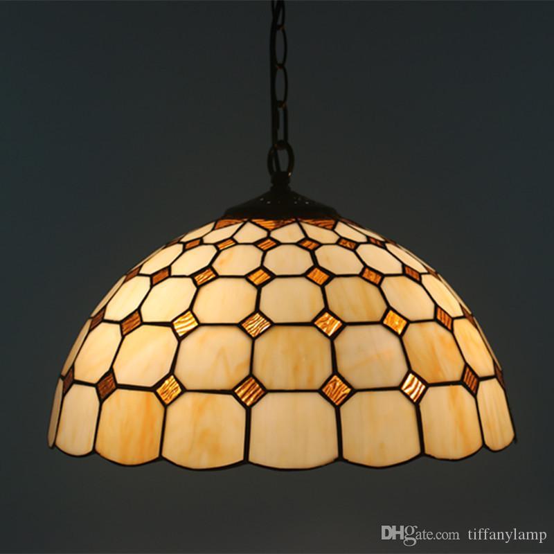 16 بوصة تيفاني الأوروبي قلادة ضوء الثابت خمر الإبداعية نوم سلسلة دراسة مصباح قلادة مطعم مقهى الزجاج قلادة مصباح