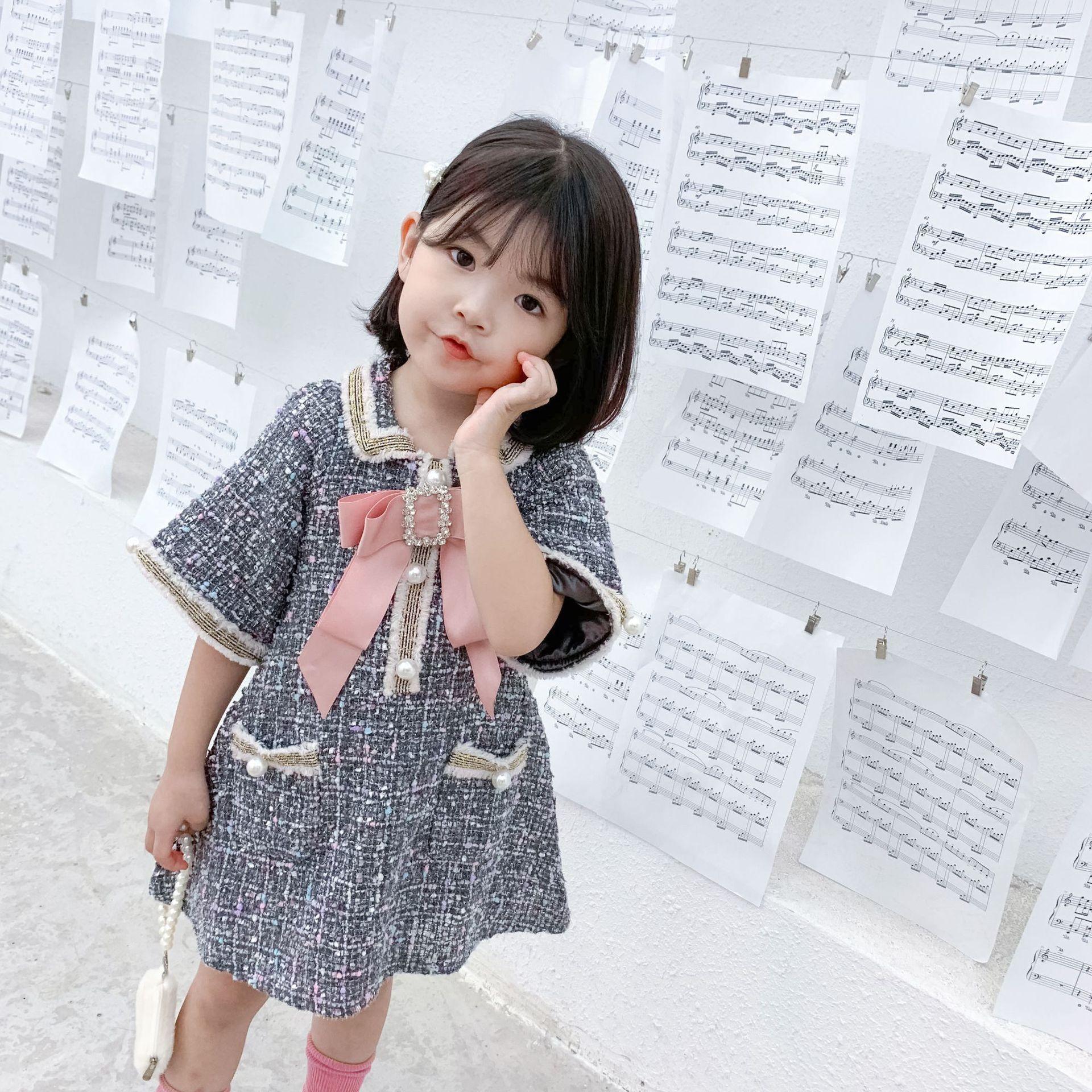 التجزئة طفلة الفساتين الفاخرة مزاجه اللؤلؤ القوس الأميرة فساتين للأطفال مصمم ملابس الفتيات اللباس بوتيك الملابس