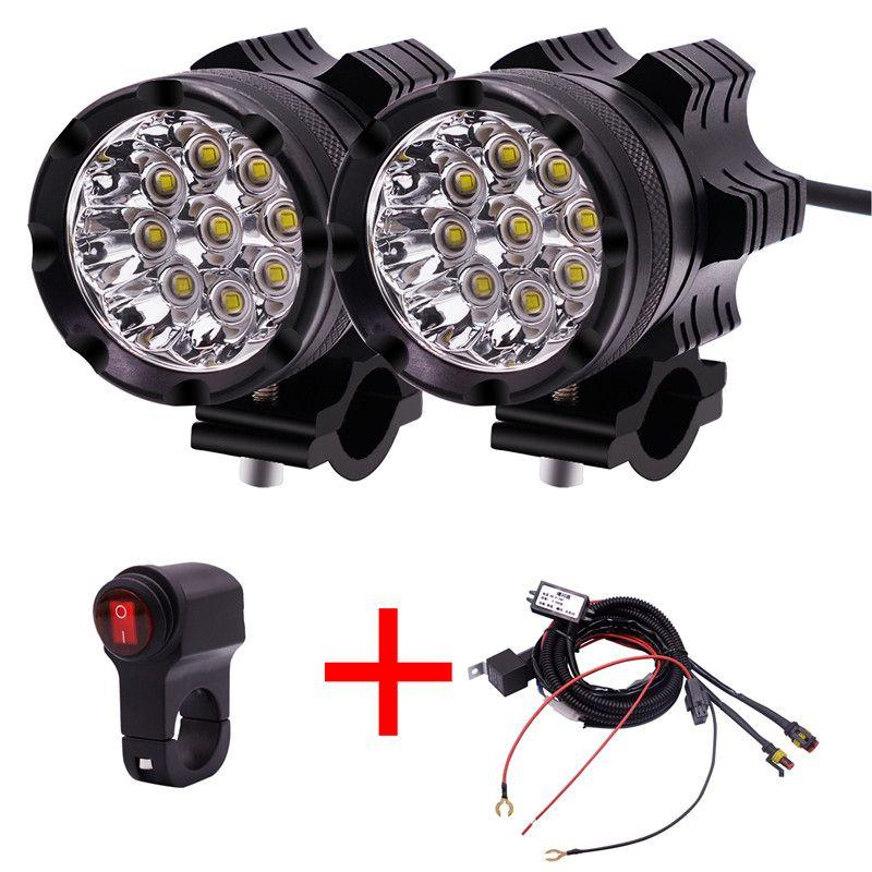 1 Coppia Fari LED per motocicli 12V 90W 11000LM Lampada LED per fari per moto Moto Spot Testa ausiliaria DRL