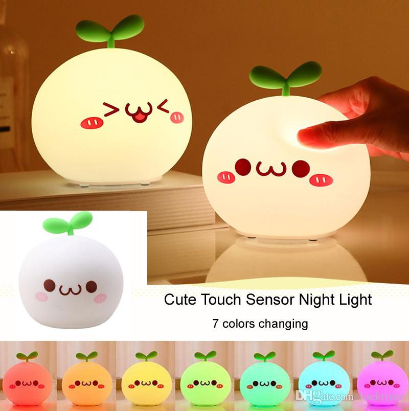 Rechargeable LED Night Light cute cartoon night Lamp 7 colors changing Soft Silicon Touch Sensor Novelty lights Kids gift Cute Night lamp