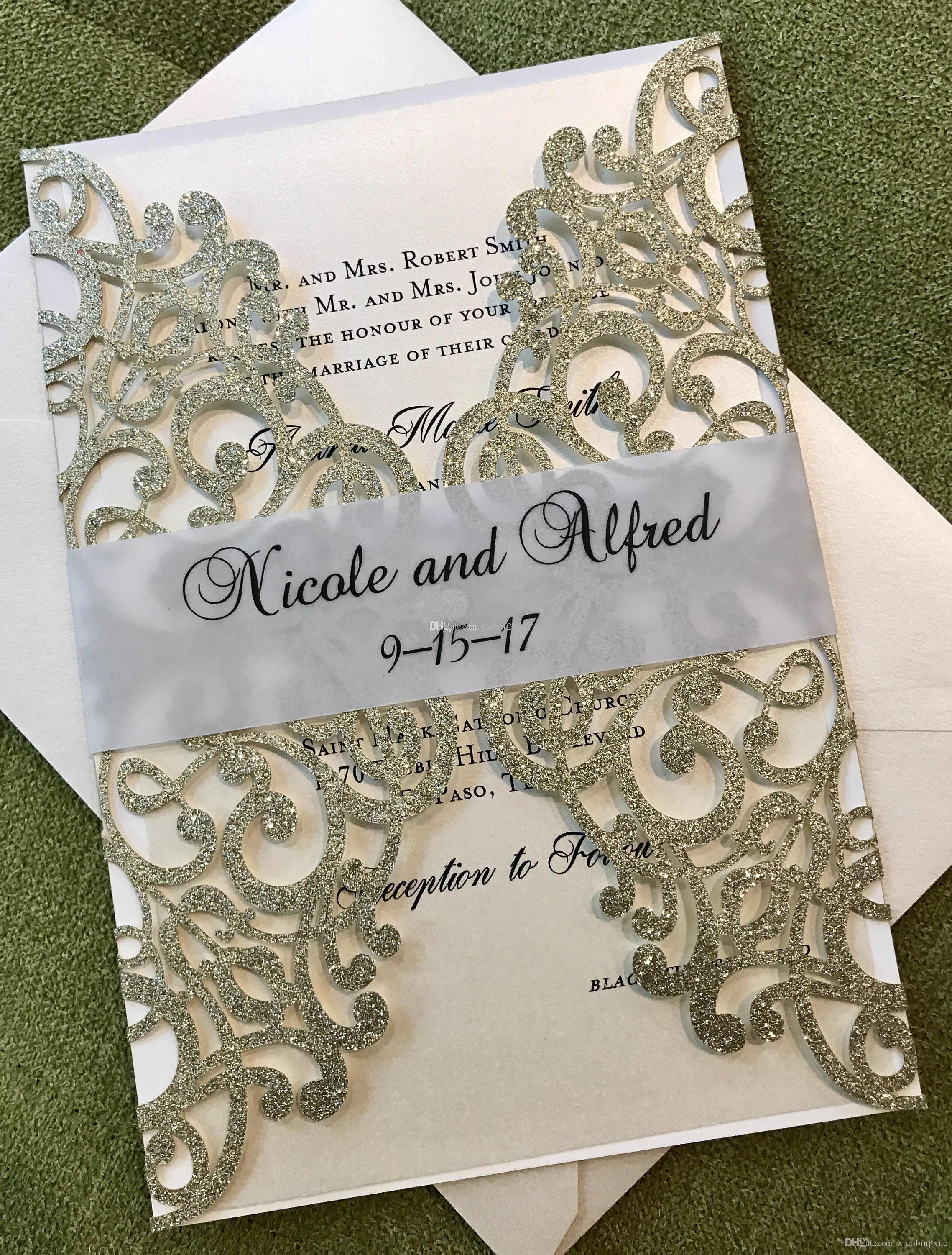 Glitter Flower Laser Cut Quinceanera Invitation With Seethrough Belly Band  Silver Gold Blue Champagne Wedding Invitation Destination Wedding Invitation  Different Wedding Invitations From Xiaobingxue, $0.9| DHgate.Com