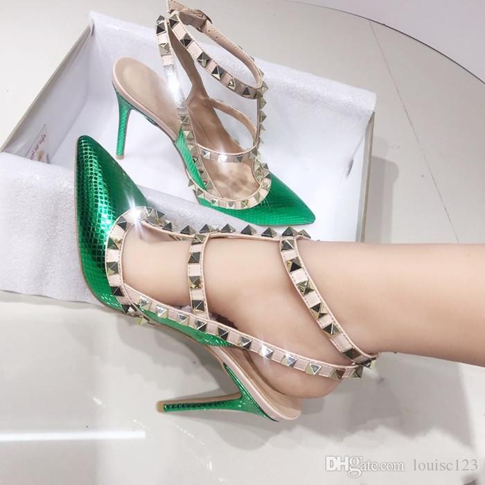 Новый конструктор Остроконечные Toe 2-ремень с заклепками 10см высокой пятки кожи заклепки сандалии женщин обувь Валентайн высокой пятки обувь размер 34-46