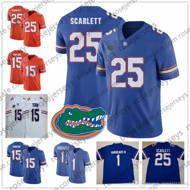 Florida Gators # 1 Vernon Hargreaves III 15 Eddy Pineiro 23 Chauncey Gardner-Johnson 25 Scarlett 51 Ventrell Miller maillot bleu blanc orange