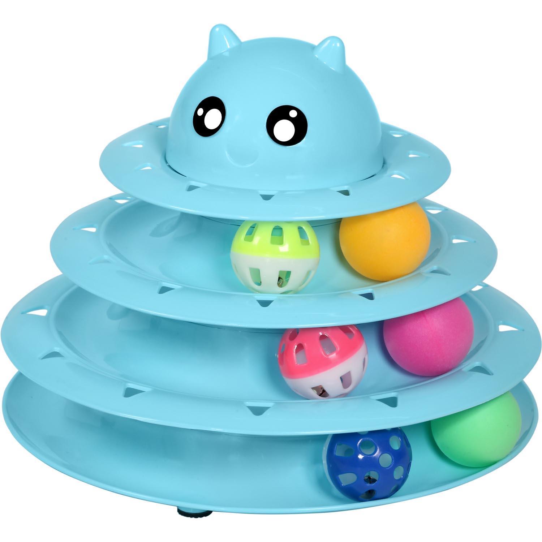 Upsky لعبة القط بكرة القط لعب أبراج 3 المستوى مسارات قطار مع ستة الملونة هريرة الكرة التفاعلية المرح التربية البدنية العقلية لغز لعبة