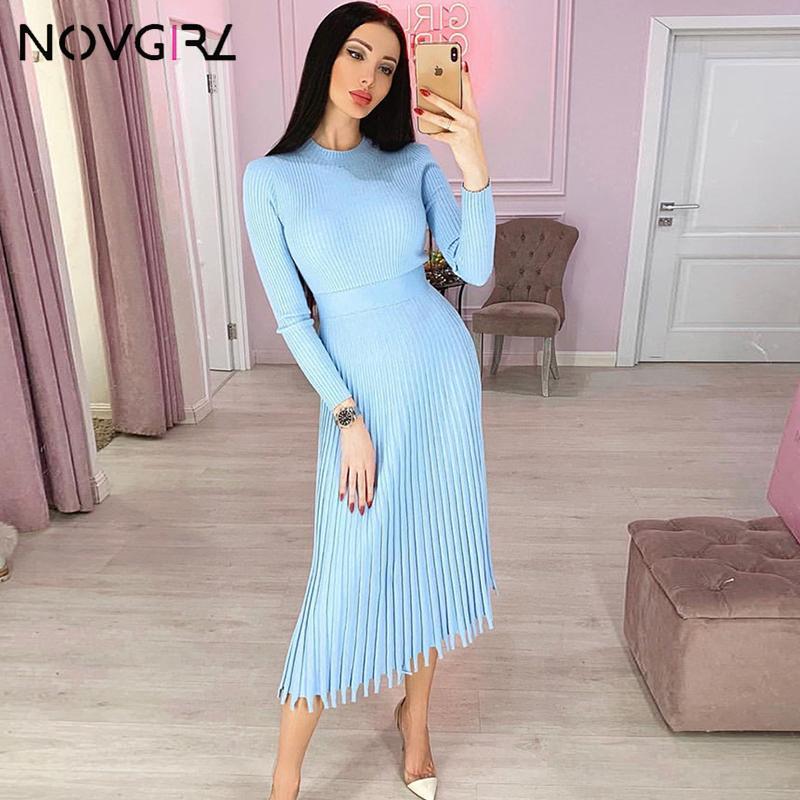 Novgirl outono inverno camisola vestido mulheres 2019 moda tricotada midi vestidos de manga comprida uma linha robe escritório senhora vestidos