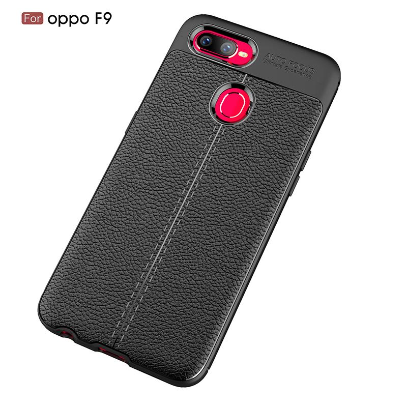 Ultra Thin Scratch Resistant Phone Case for OPPO F9 Litchi Pattern Soft Shockproof Absorption Soft TPU Protection Cover