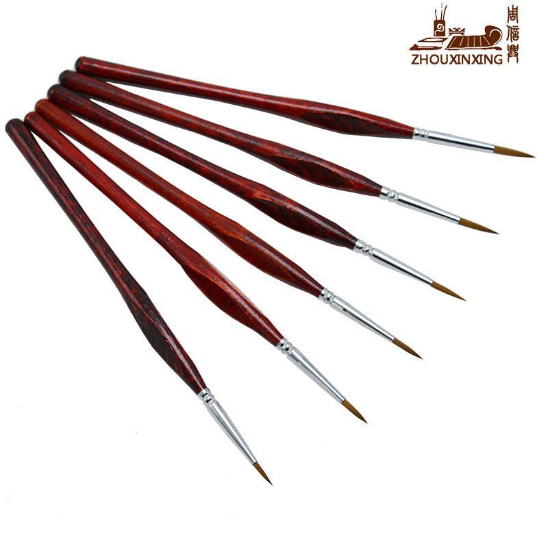 6pcs / set belette cheveux crochet ligne stylo amende aquarelle pinceau pour dessin art peinture gouache peinture à l'huile brosse art fournitures T8190617