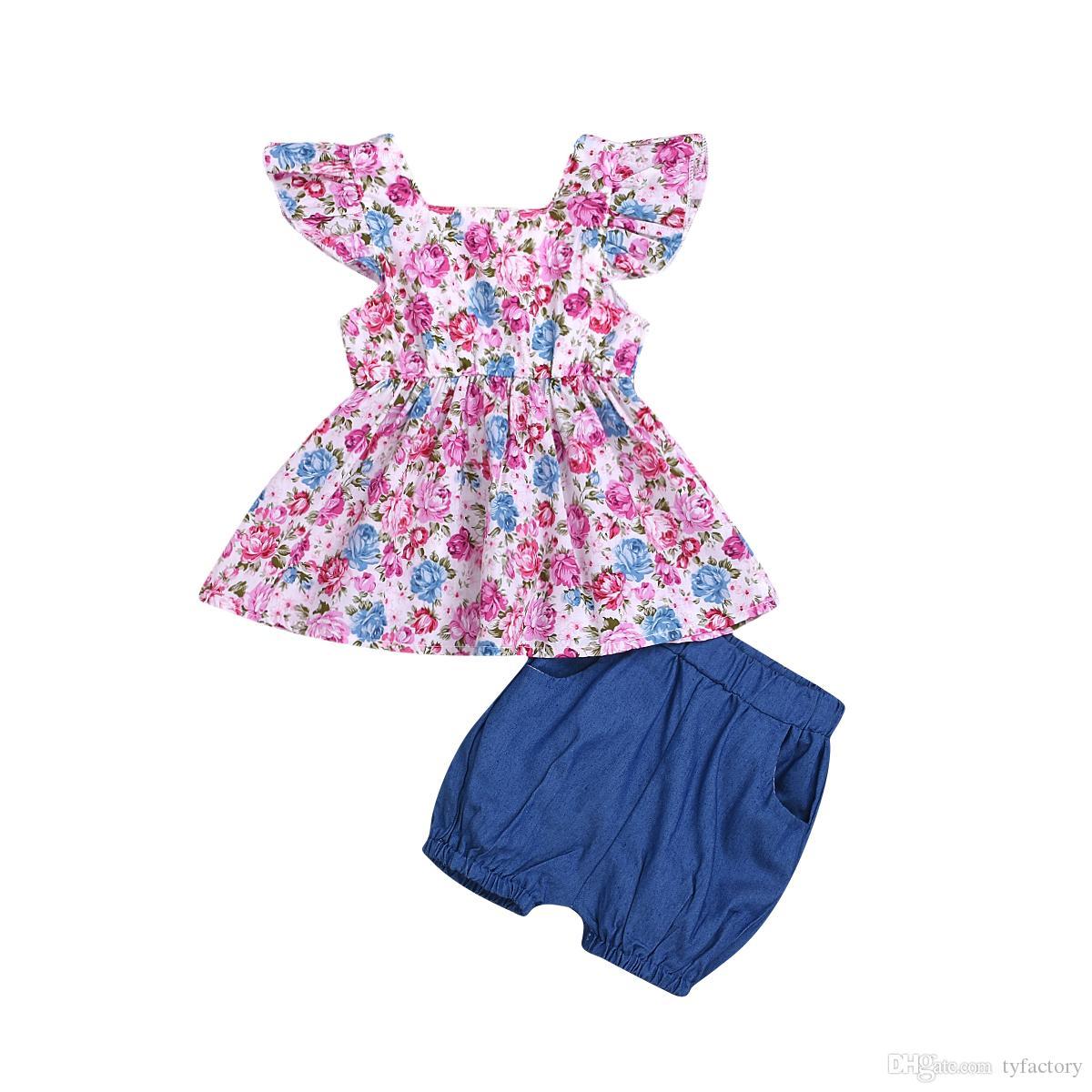 fiore New Kids neonata stampa Top + shorts in denim tutu delle ragazze dei pantaloni capretto del vestito Outfits Estate Bambini vestiti floreali