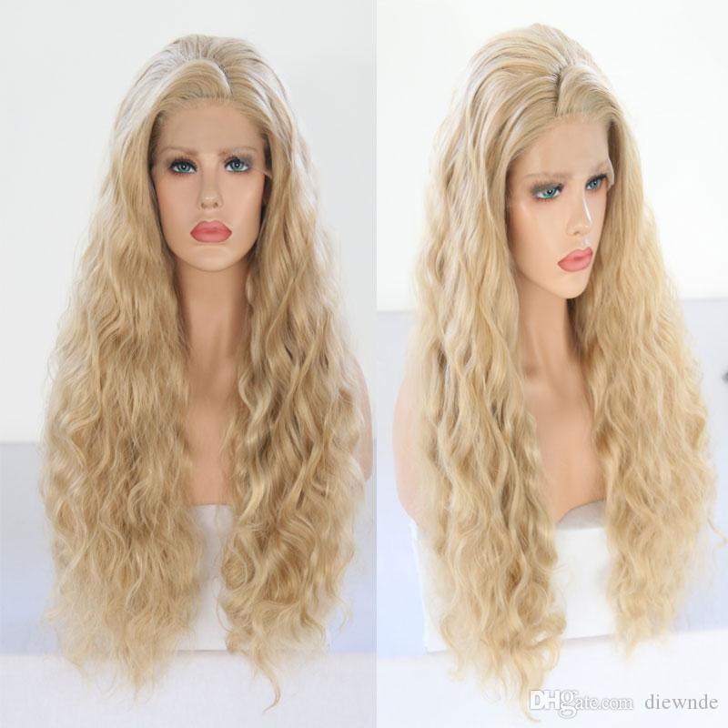 1백80퍼센트 밀도 손 묶여 금발 가발 높은 온도 머리 긴 느슨한 웨이브 깊은 내열 가발 글루리스 (glueless)의 합성 여성을위한 레이스 프런트 가발