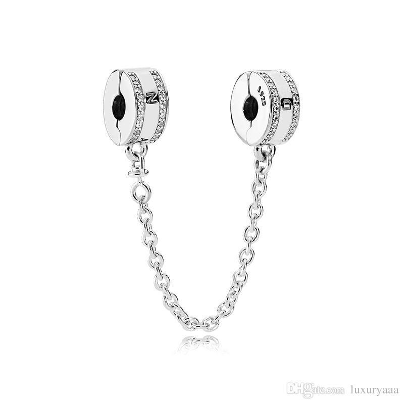 Classique 925 accessoires bijoux en argent sterling chaîne Safe Logo boîte originale pour Pandora Bracelet bricolage Charms Chain Safe Livraison gratuite