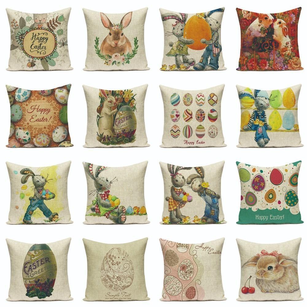 الكرتون عيد الفصح لطيف ابتسامة الأرنب الأرنب اللون البيض الرئيسية عيد الفصح الأرنب الكتان رمي سادة القضية شخصية مخصص غطاء وسادة