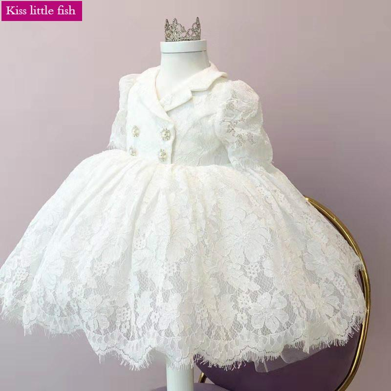 Free Shipping Lace Flower Girl Dress White Evening Gown with Sleeves Toddler Pageant Dresses