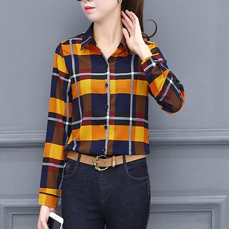 Blusa de mujer de manga larga tops y blusas camisas de la solapa camiseta de las señoras de tamaño del negocio del enrejado de impresión superior de la manera de las mujeres # 1216